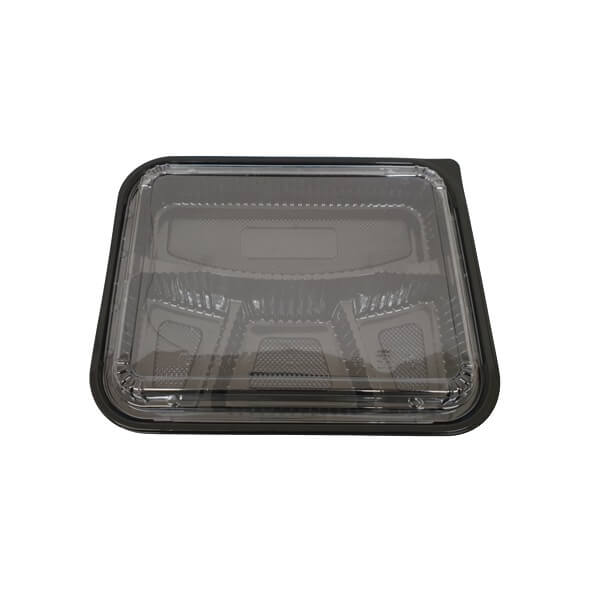 Bento box black PP - 4 compartment with lid clear image