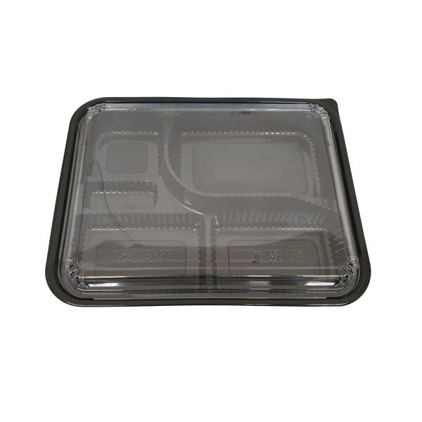 Bento box black PP - 5 compartment with lid clear image