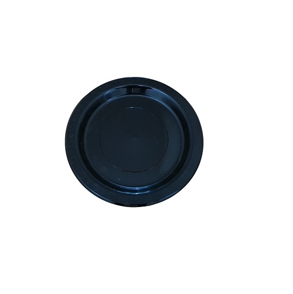 Black round plastic plate image