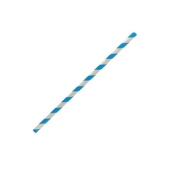 Blue stripe regular paper straws image