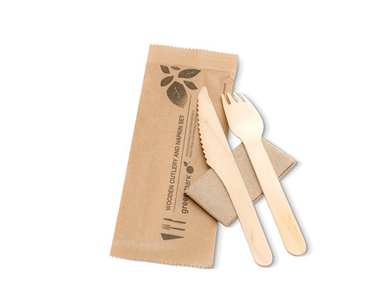 Cutlery set. Wooden fork, knife and napkin image