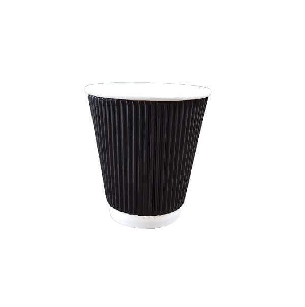 Triple wall ripple black paper cup image