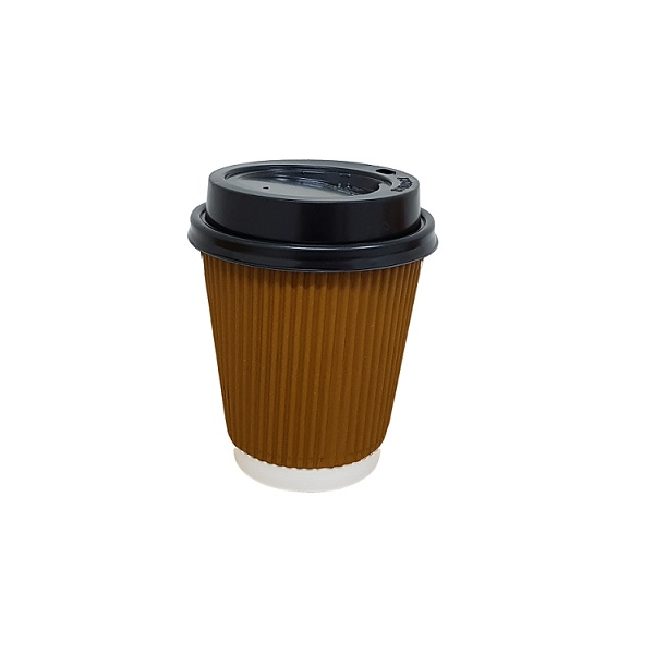 Double wall ripple brown paper cup with black lid image