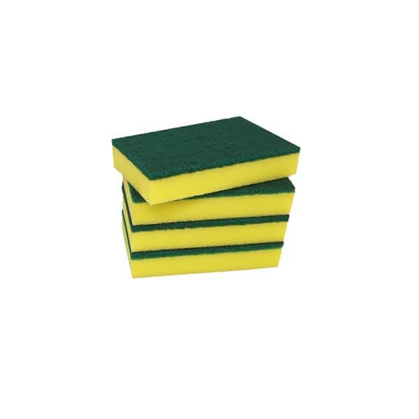 Green and yellow scourer sponge image