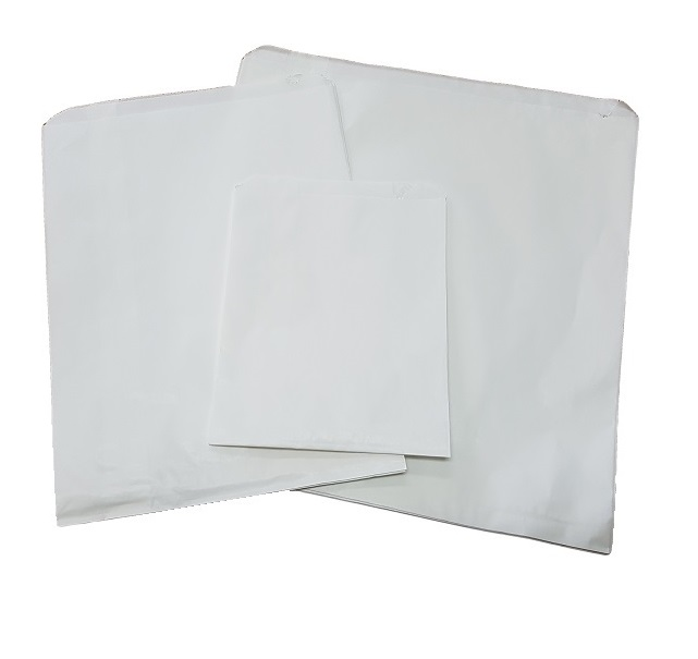 Half square greaseproof lined white flat paper bags image