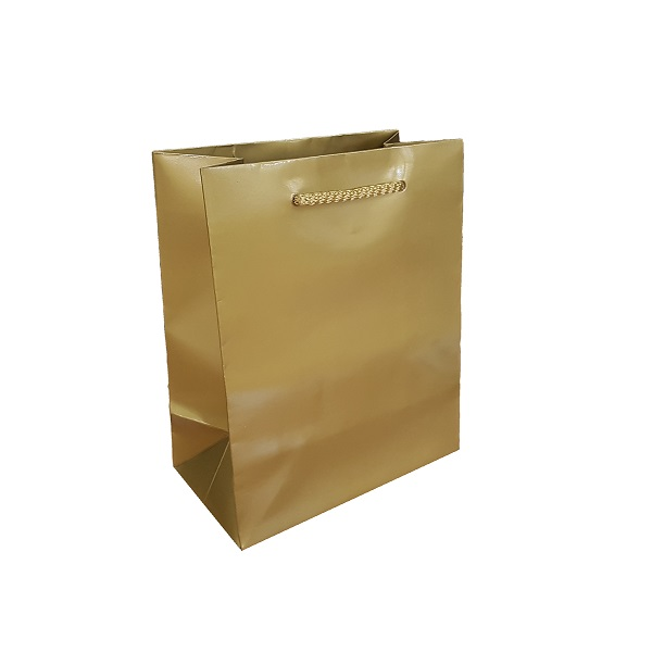 Laminated gold gloss bag with rope handle image