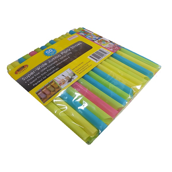 Mixed colour super jumbo plastic straw pack image