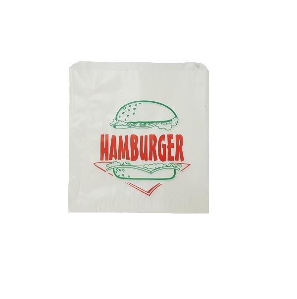 Printed glassine flat white hamburger paper bags image