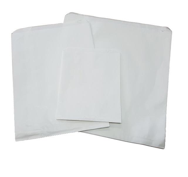 Quarter Long White Flat Paper Bags image