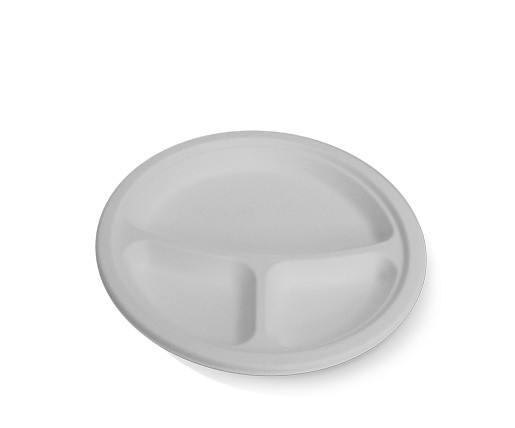 Sugarcane round plate - 3 compartments image