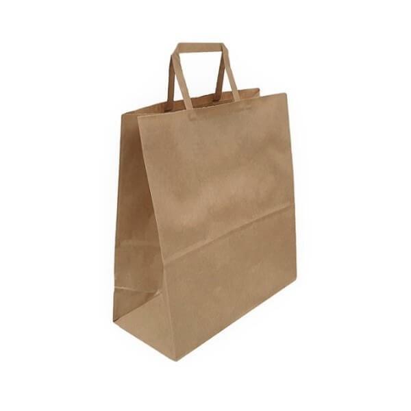 Takeaway Brown Paper Bag - Flat Paper Handle image