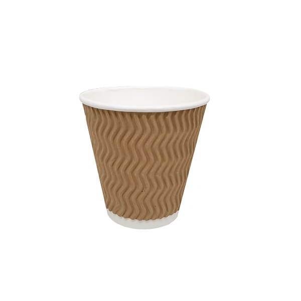 Triple wall uni wave brown paper cup image
