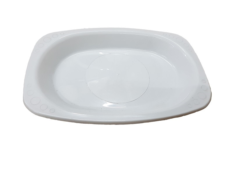 White oval plastic plate image